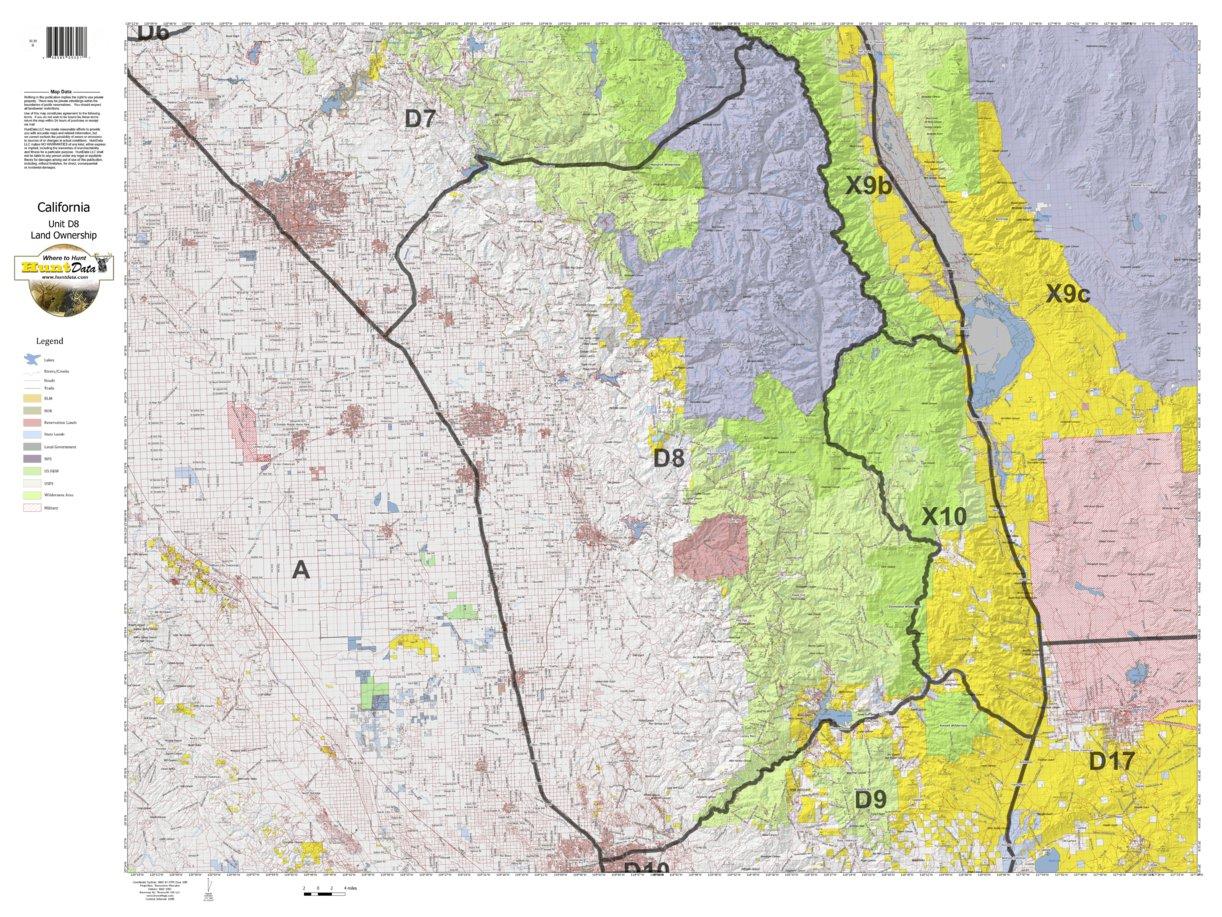 california deer hunting zone d8 map - huntdata llc - avenza maps