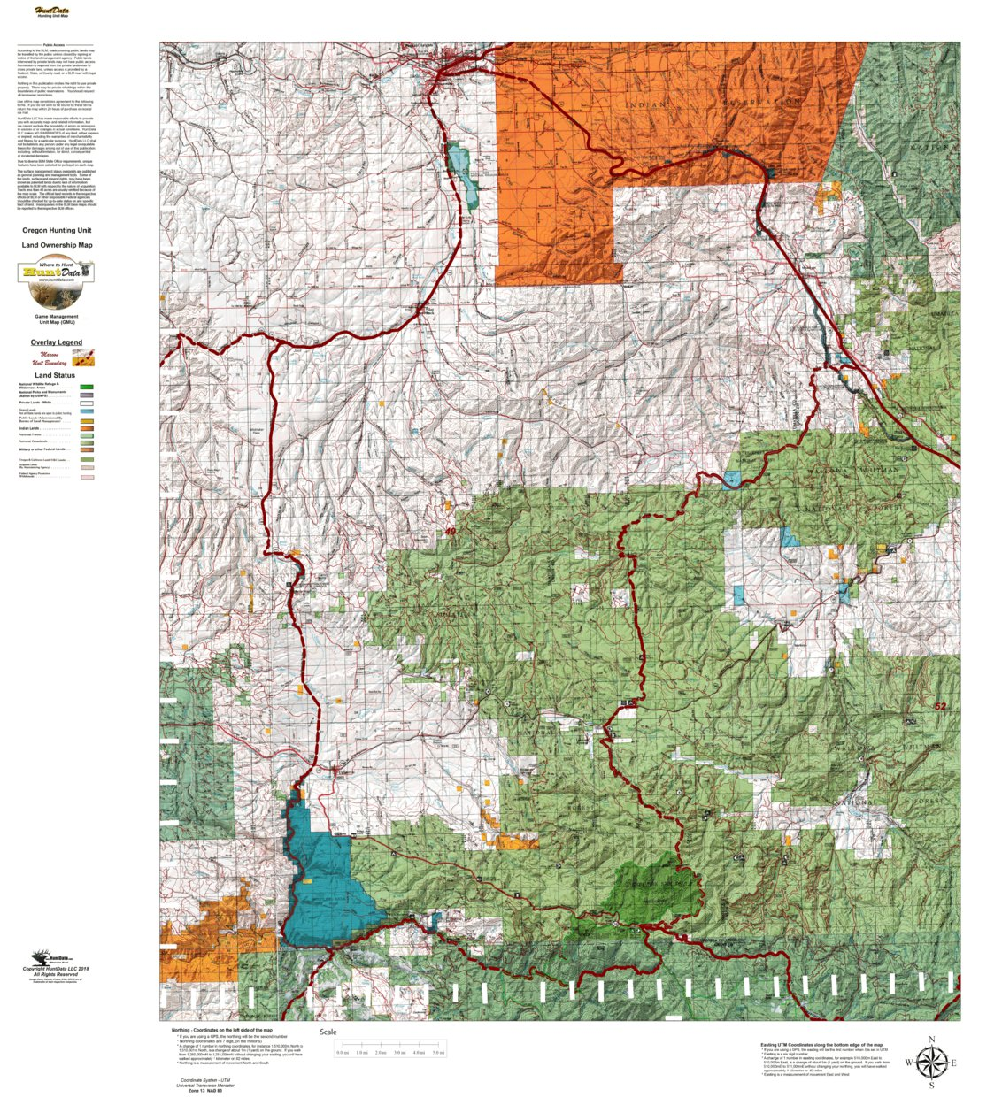Oregon Hunting Unit 49 Ukiah Land Ownership Map Huntdata
