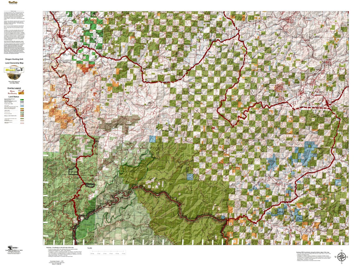 Oregon Hunting Unit 26 Powers Land Ownership Map Huntdata Llc