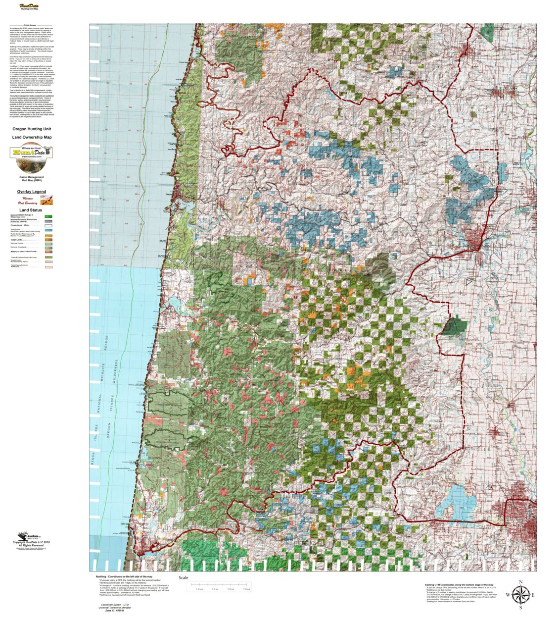 Alsea Oregon Map.Oregon Hunting Unit 18 Alsea Land Ownership Map Huntdata Llc