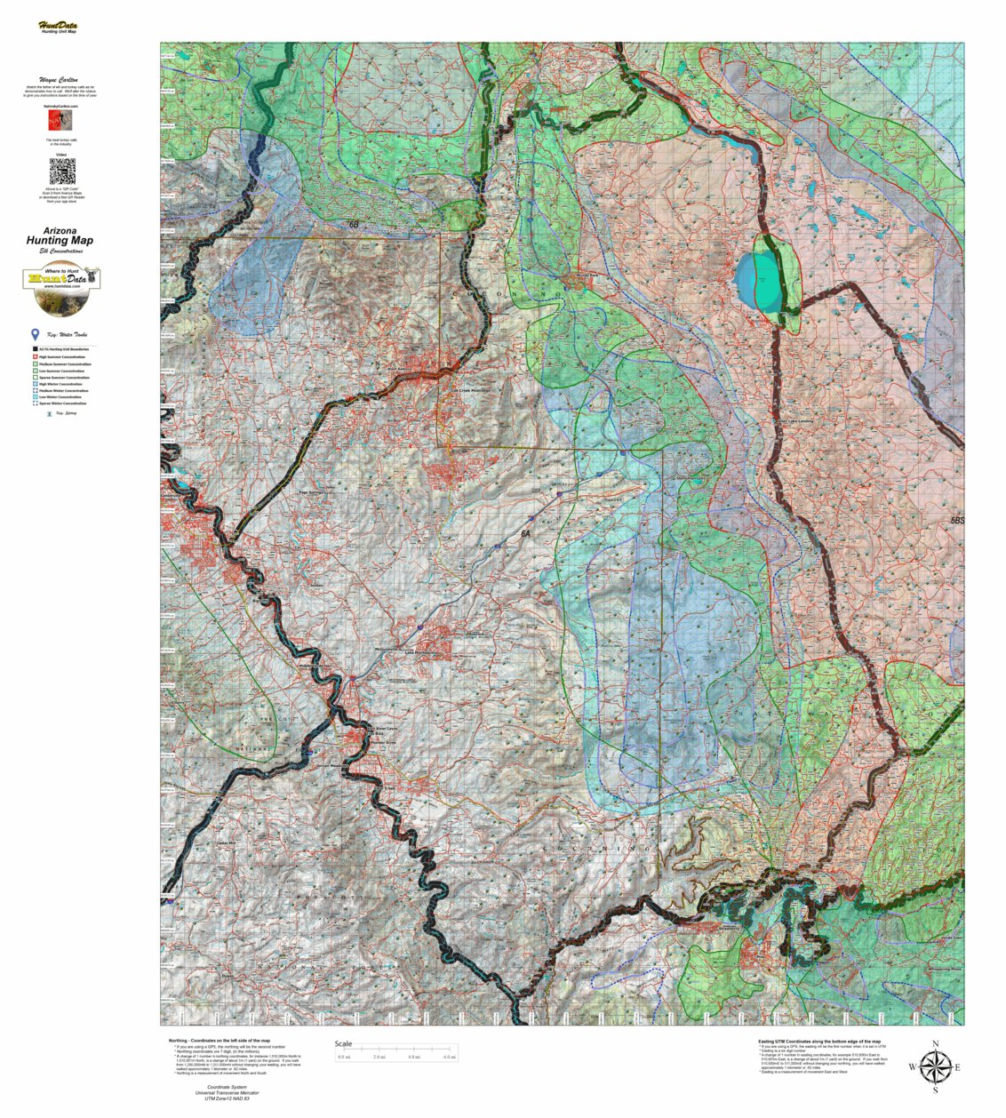 Map Of Arizona Hunting Units.Huntdata Arizona Elk Hunt Unit 6a Game Concentration Map Huntdata