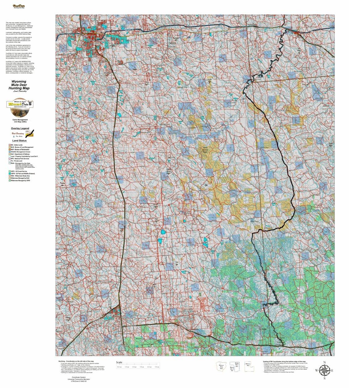 HuntData Wyoming Land Ownership Map Mule Deer Unit 24 ...