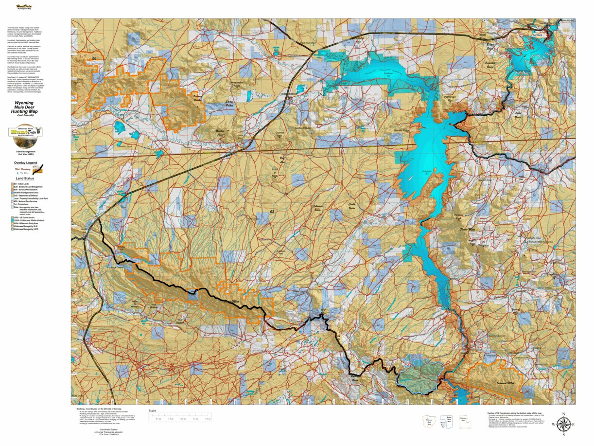 HuntData Wyoming Land Ownership Map Mule Deer Unit 63 ...
