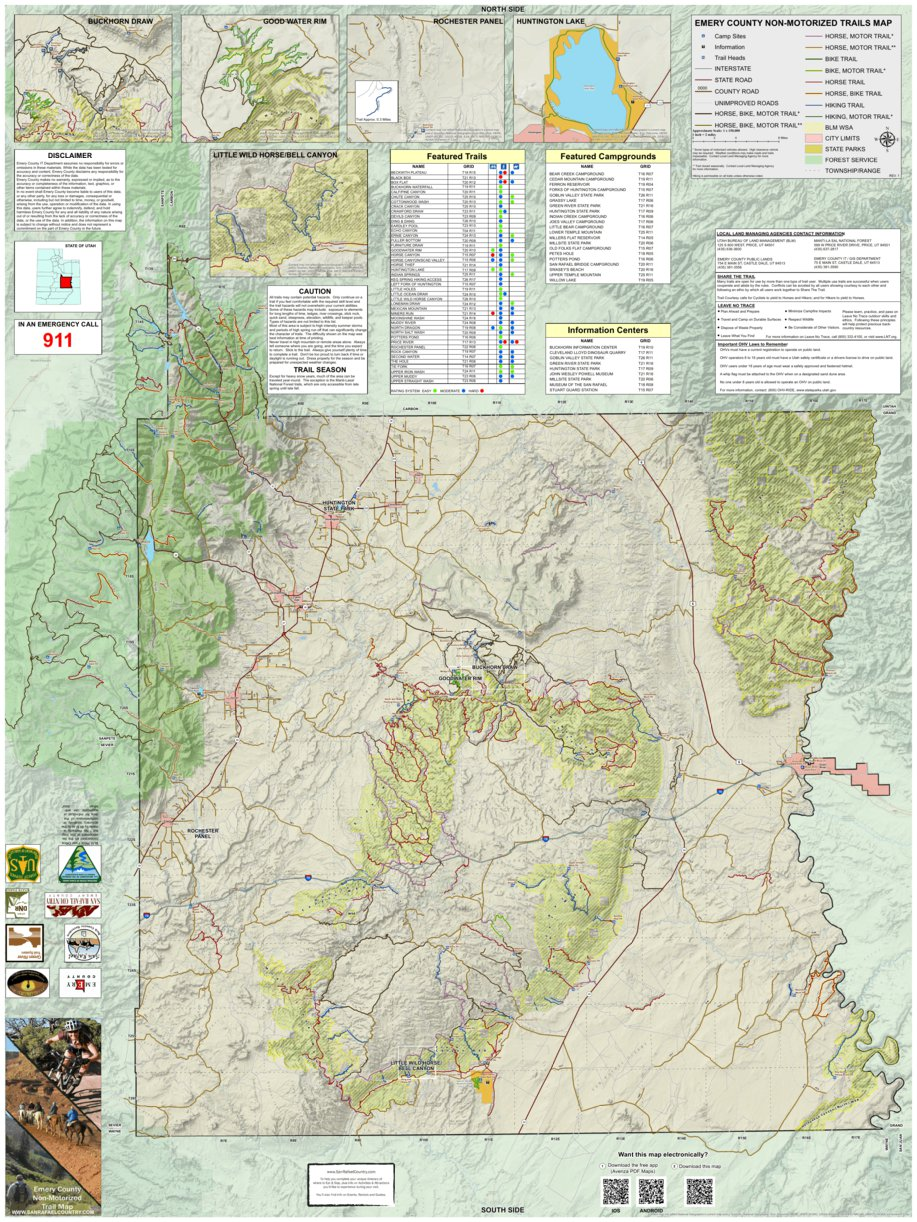 Non-Motorized Trails Map, Emery County, Utah