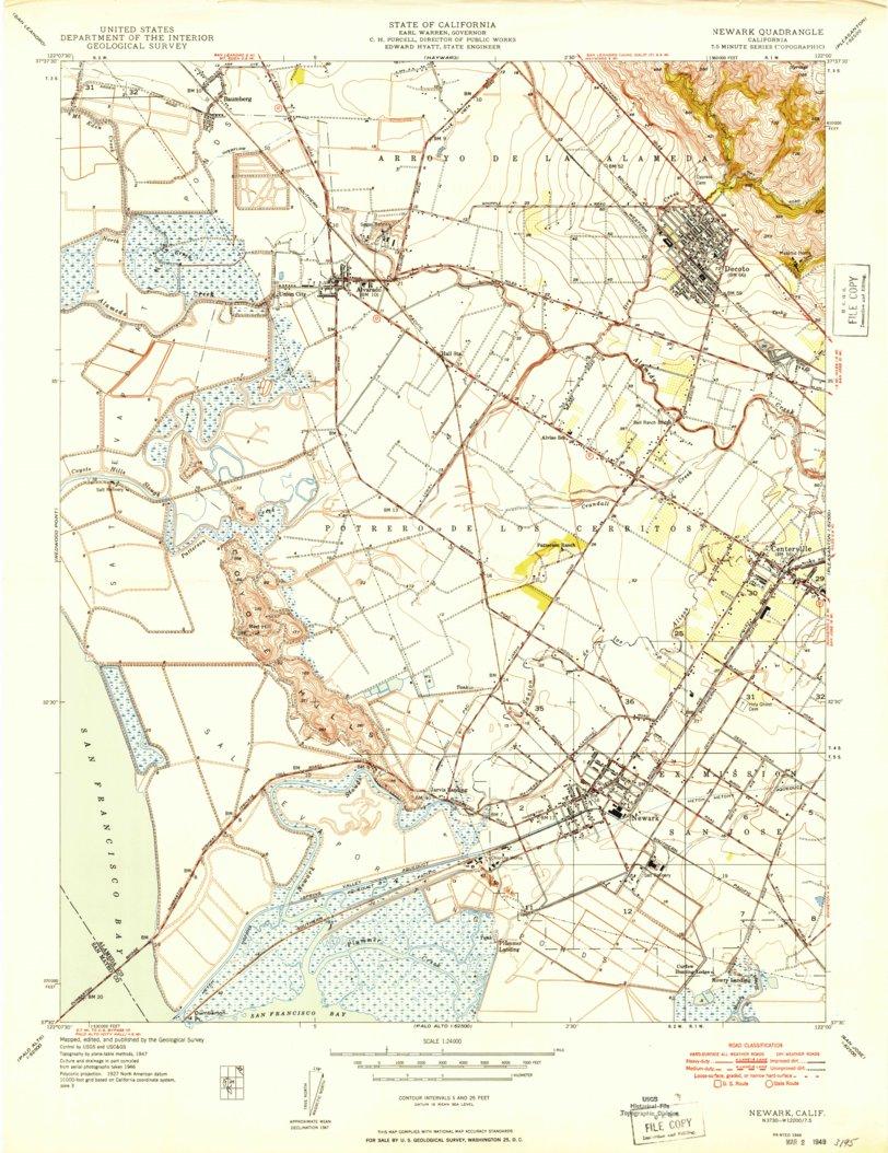 Newark Ca Historical Map Geopdf 7 5x7 5 Grid 24000 Scale 1948