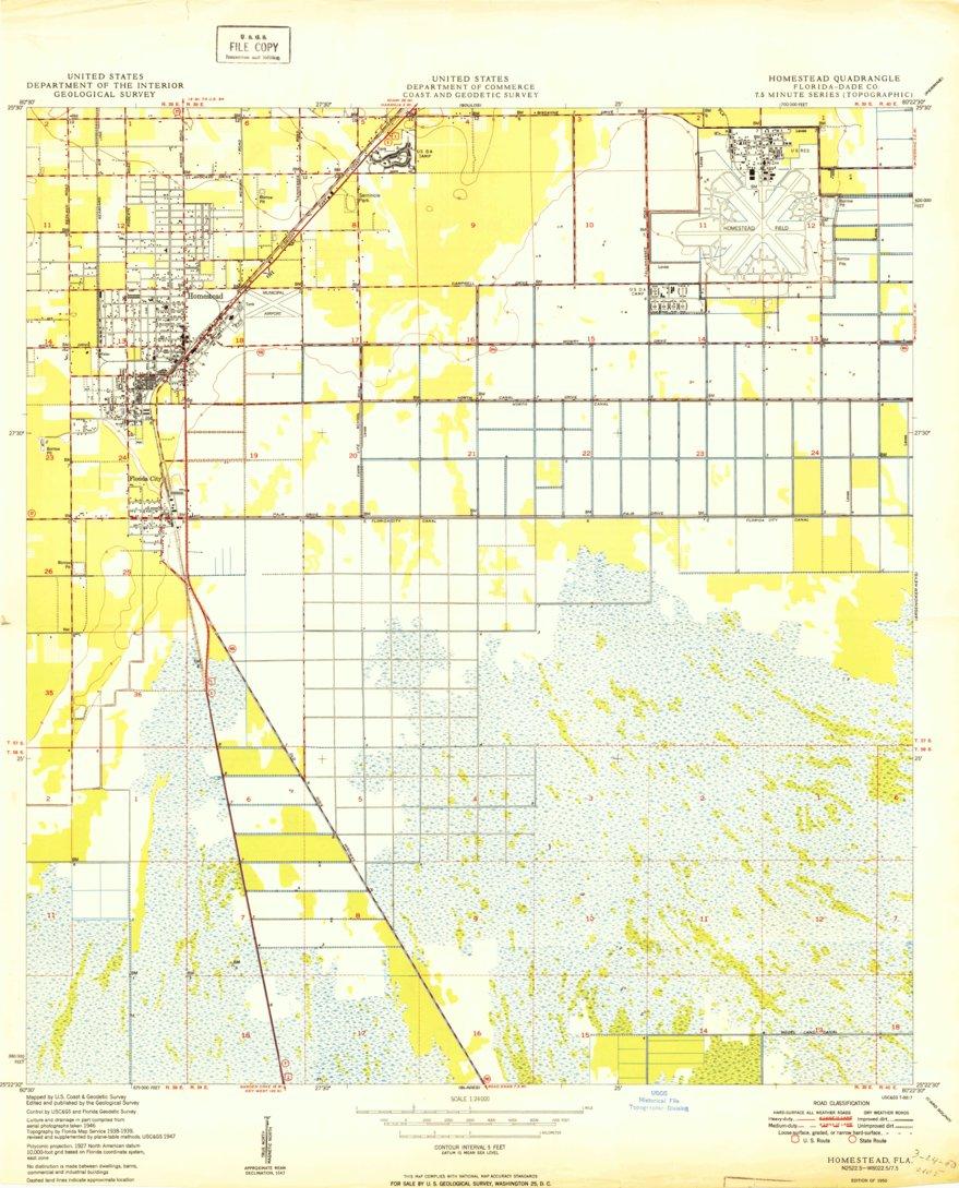 Map Of Homestead Florida.Homestead Fl Historical Map Geopdf 7 5x7 5 Grid 24000 Scale 1950