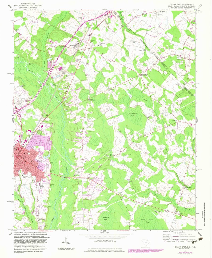 Dillon East Sc Nc Historical Map Geopdf 7 5x7 5 Grid 24000 Scale