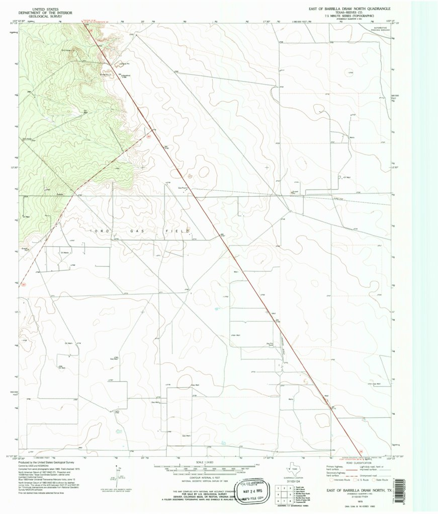 EAST OF BARRILLA DRAW NORTH, TX HISTORICAL MAP GEOPDF 7 5X7