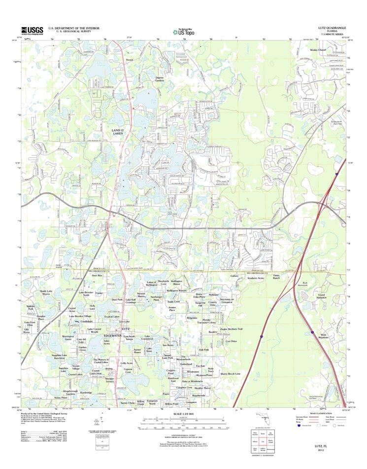 Lutz Florida Map.Lutz Fl Tnm Geopdf 7 5x7 5 Grid 24000 Scale Tm 2010 United States