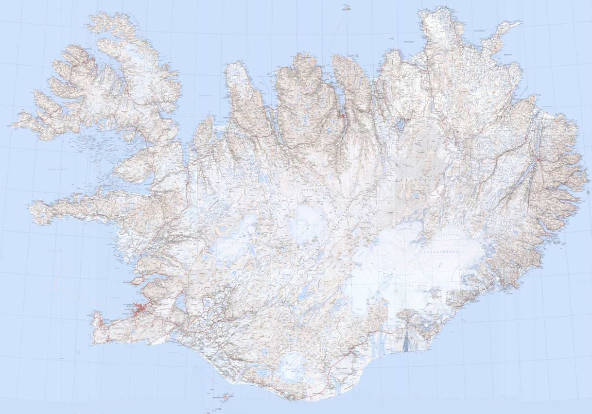 A Topographic Map of Iceland 1250000 michaelBavenza Avenza Maps