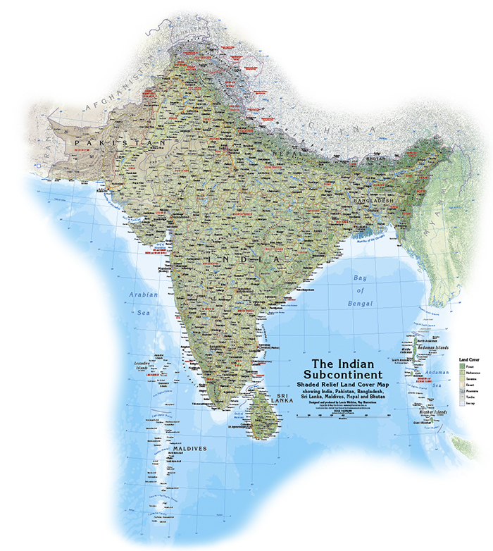 Indian Subcontinent Map The Indian Subcontinent   Map Illustrations   Avenza Maps