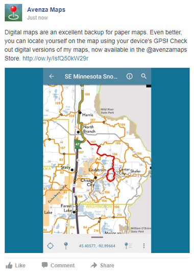 Promote your Avenza Map Store maps with social media - Facebook