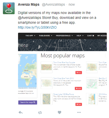 Promote your Avenza Map Store maps with social media - Twitter