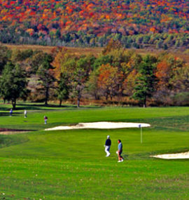 Golfers enjoy a pleasant game amidst colorful trees.