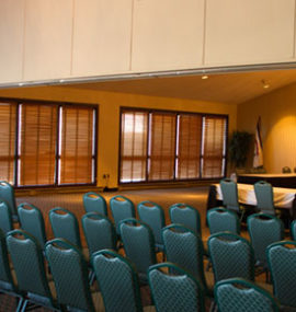 A large, well-lit conference area.