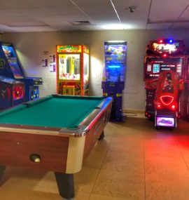 Pool table in arcade