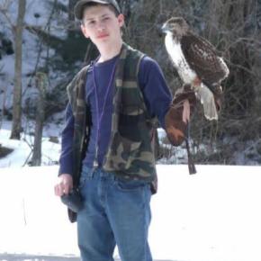 Teenage falconer