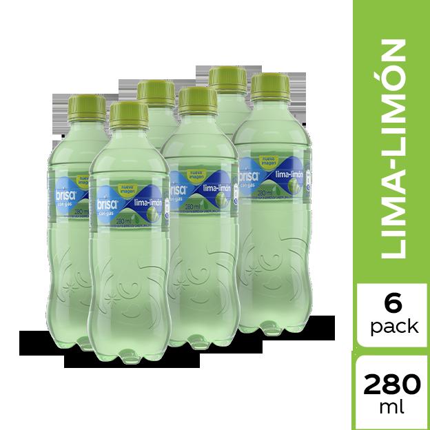 Agua Brisa Lima Limón Con Gas 280 ml 6 pack