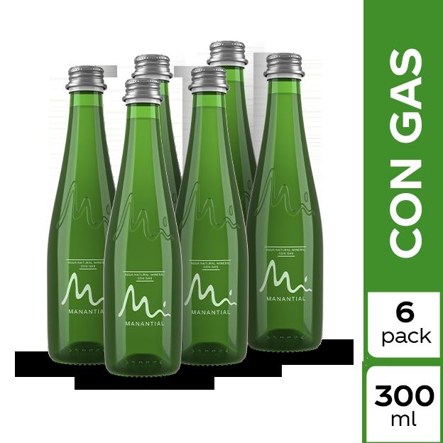 Agua Manantial Con Gas 300 ml 6 pack