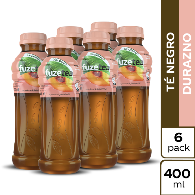 Fuze Tea Negro Durazno 400 ml 6 pack