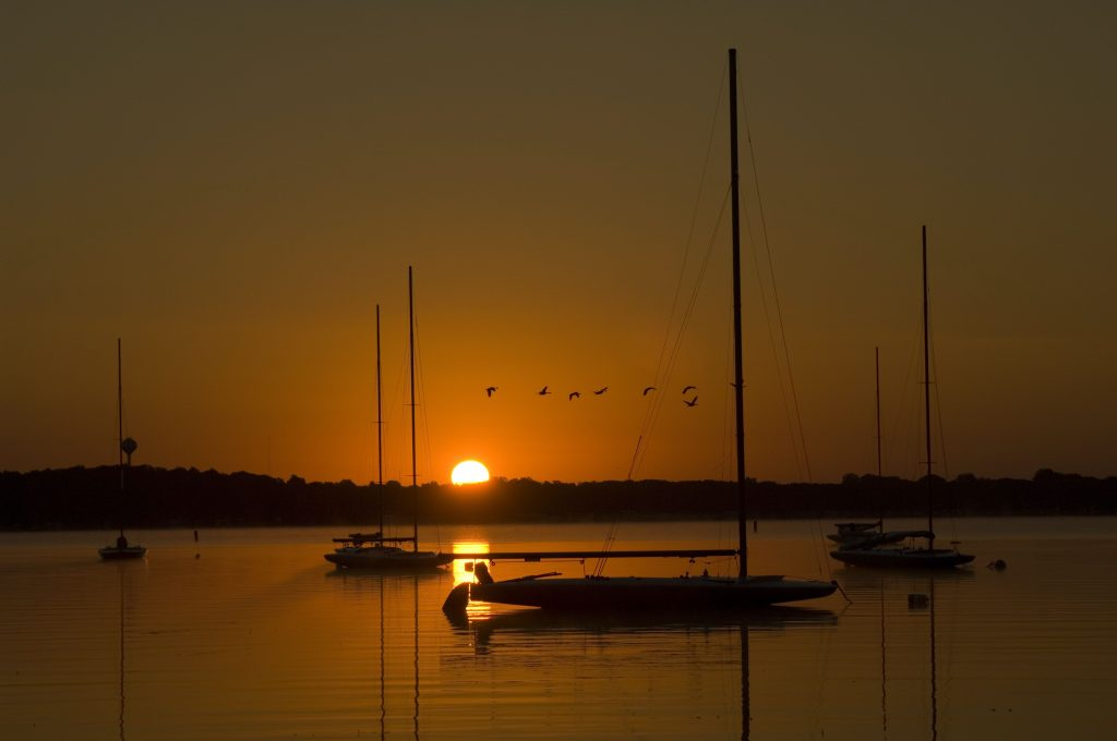 A darkly orange colored sunrise lights a lake with sailboats and birds.