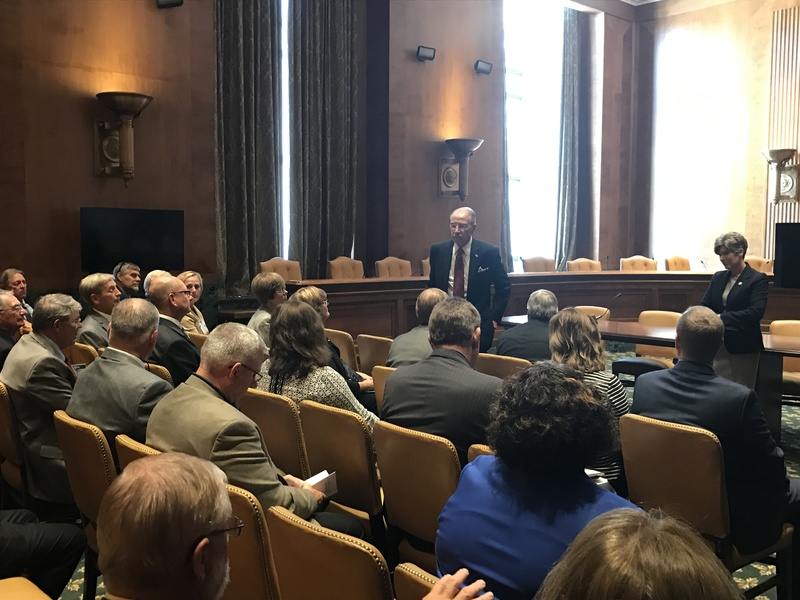 Each Fall several Representatives from Rural Electric Cooperatives in Iowa attend a Fall Fly-In to Washington DC. Here they are meeting with Senators Grassley and Ernst in 2017.