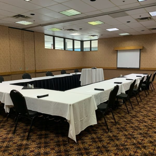 Conference room setup for meeting