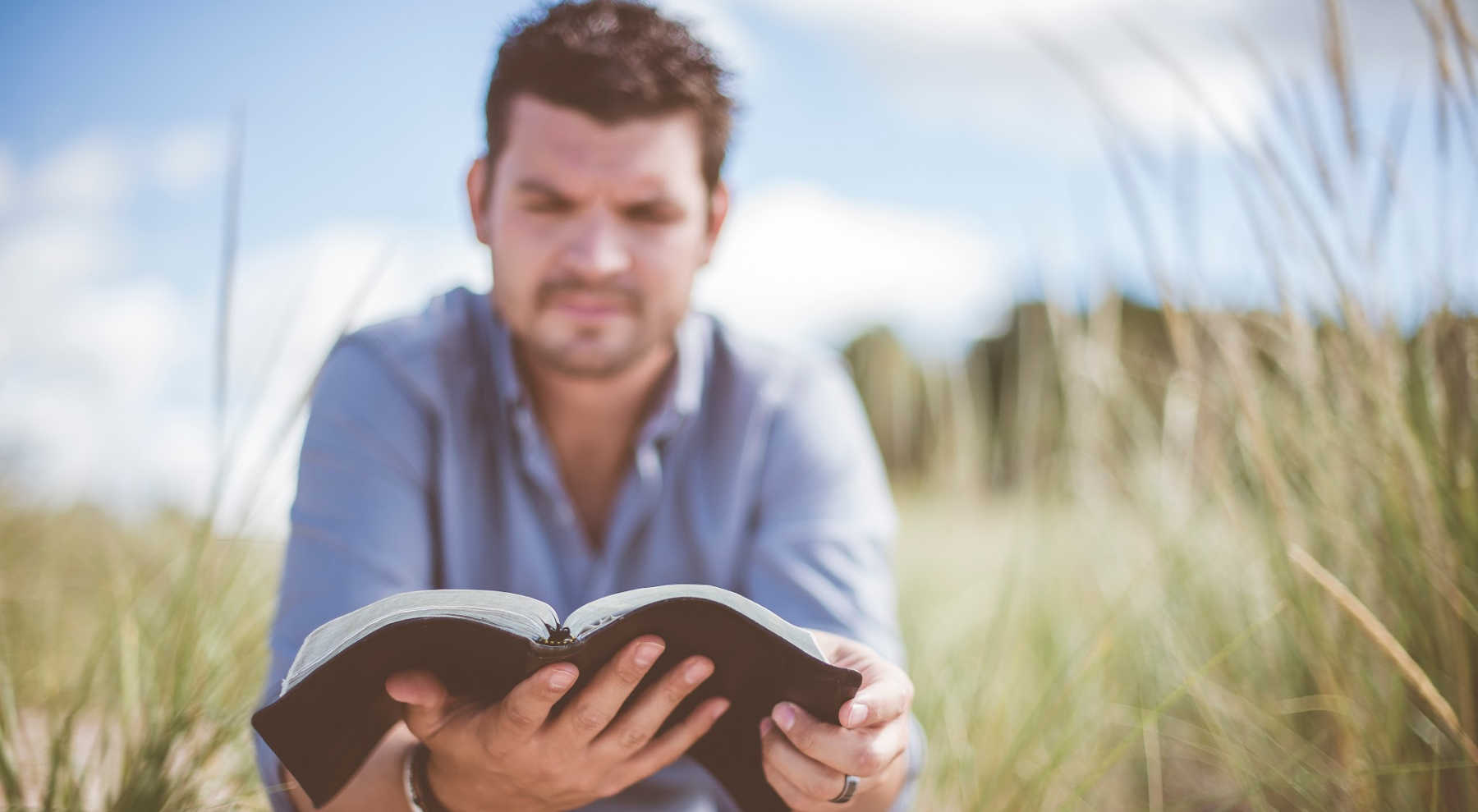 Man reading Bible in Field