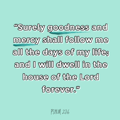 """Surely goodness and mercy shall follow me all the days of my life; and I will dwell in the house of the Lord forever."""