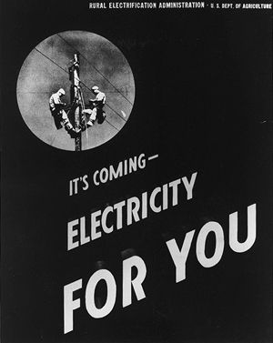 """Image features an early advertisement, circa 1935, promoting the coming of the local rural electric cooperative. The ad reads """"It's coming! Electricity for you!"""""""