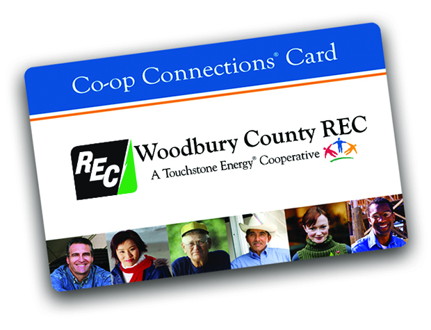 Image features the face of the Woodbury County REC Co-op Connections Card.