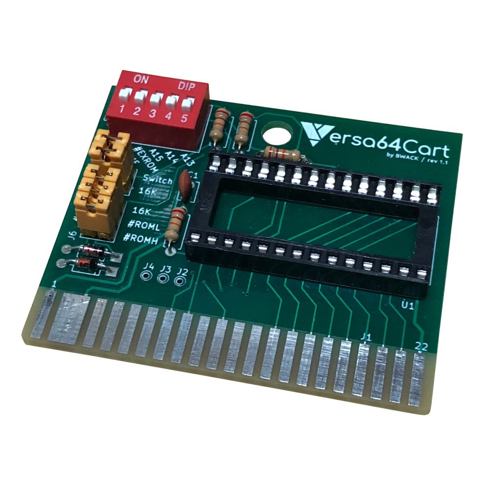 Versa64Cart v1.1, assembled with all optional components, and a 27256 EPROM.
