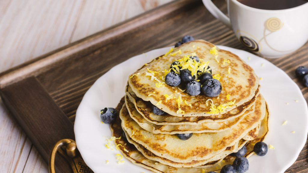 Lemon Pancakes with Blueberry Sauce