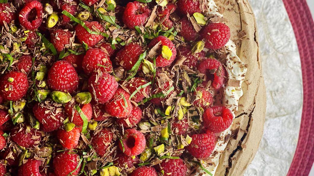 Chocolate Pavlova with Raspberries, Pistachios & Basil