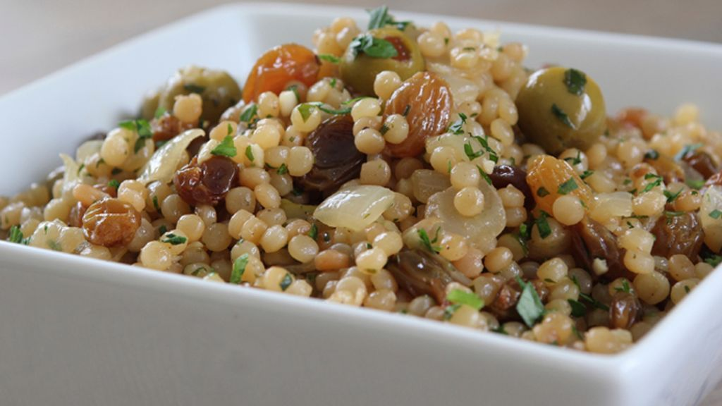 Toasted Israeli Couscous with Olives and Golden Raisins