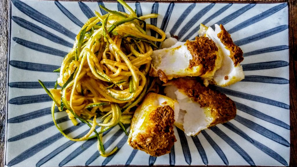 Quick Curry Crusted Cod with Zucchini Noodles