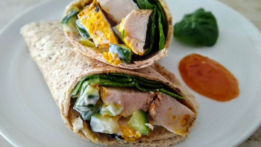 Grilled Curry Chicken Wraps, Yogurt Raita, Mango Chutney