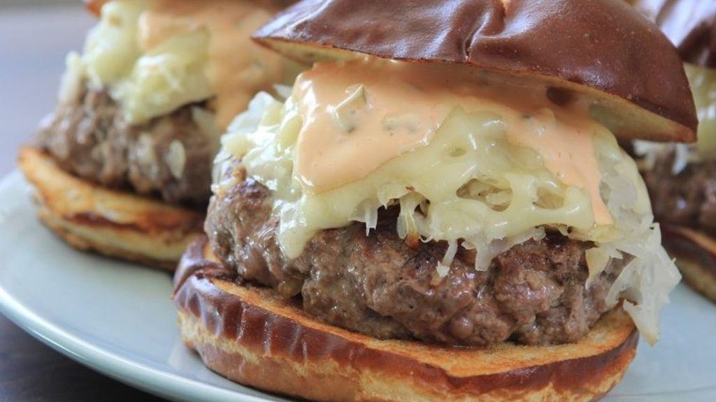 Reuben Burgers on Pretzel Rolls