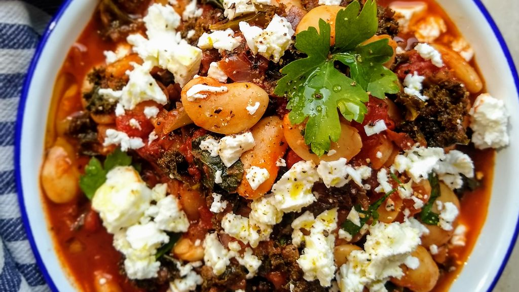 Greek Beans w/Chard & Feta