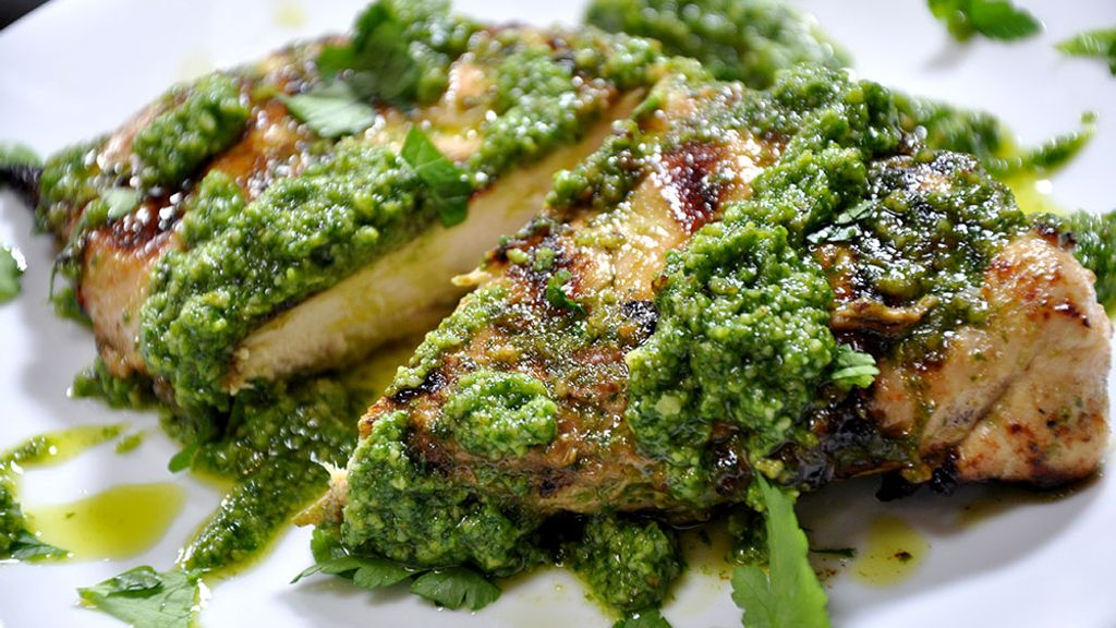 Garlic & Herb Grilled Chicken Breasts with Pesto