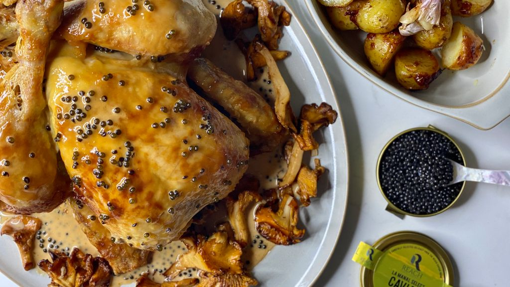 Citrus Brined Roast Chicken with Caviar Sauce, Girolles & Roasted New Potatoes