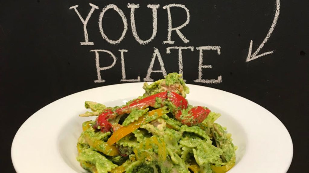Arugula Pesto Pasta with Rotisserie Chicken & Melted Bell Peppers