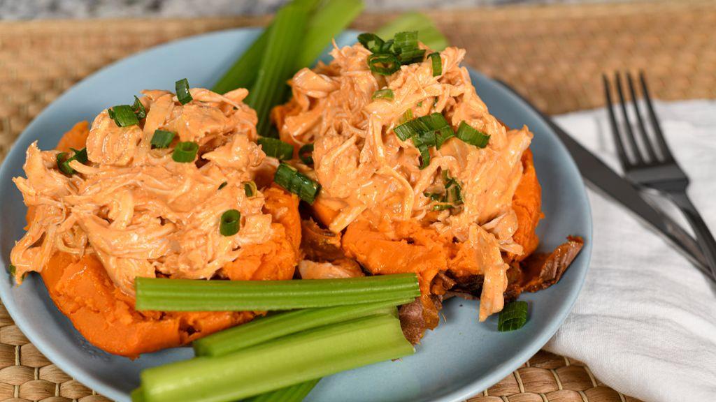 Buffalo Chicken Sweet Potatoes
