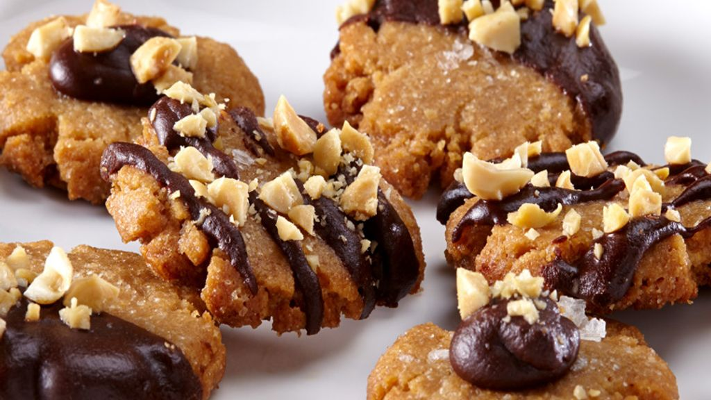 Ganache Topped Peanut Butter Cookies