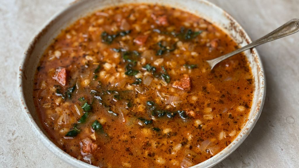 Chorizo, Barley (or Farro) and Kale Soup