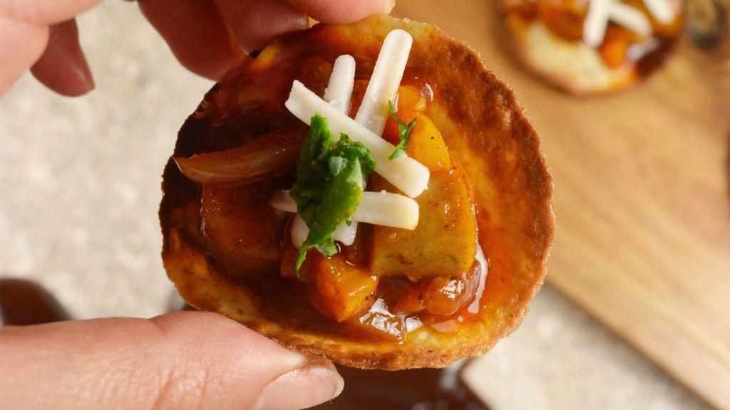 BBQ Mini Sausage Tostadas