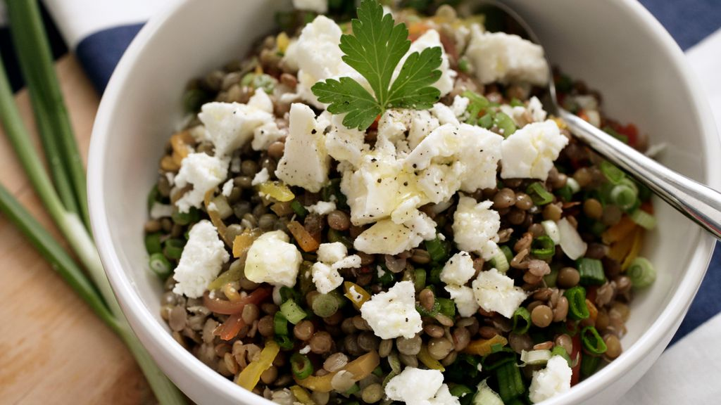 Warm French Lentil Salad w/ Walnuts & Goat Cheese