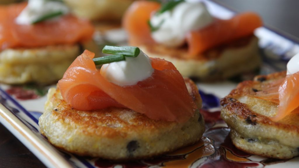 Lentil Pancakes with Smoked Salmon and Crème Fraiche