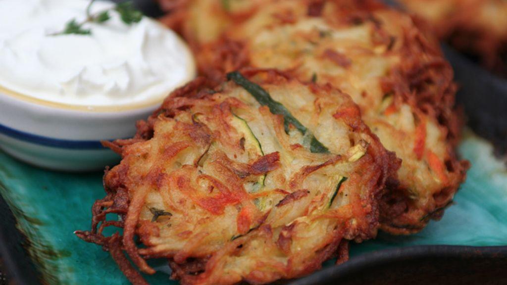 Potato, Carrot, and Zucchini Latkes