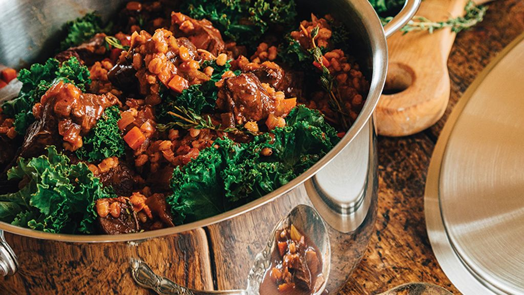 Beefy Stew with Barley & Kale